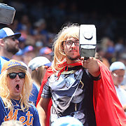 NEW YORK, NEW YORK - June 22: Thor fans salute pitcher Noah Syndergaard #34 of the New York Mets pitching during the Kansas City Royals Vs New York Mets regular season MLB game at Citi Field on June 22, 2016 in New York City. (Photo by Tim Clayton/Corbis via Getty Images)