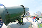 LANZHOU, CHINA - MAY 05: (CHINA OUT) <br /> <br /> Huge Sprayer Placed To Control Haze<br /> <br /> General view of a sprayer is seen at Dongfanghong Square on May 5, 2014 in Lanzhou, Gansu Province of China. The spray distance of sprayer is 600 meters. The two sprayers were placed to control dust during the construction of Dongfanghong Square Station of Lanzhou Urban Rail Line 1. <br /> ©Exclusivepix