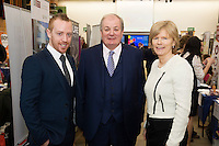 Michael Smith , General Manager SCCUL Entrepises with  Celebrity Judge Gavin Duffy and Dr. Emer Mulligan NUIG at the The SCCUL Entreprise awards and Business Expo in the Bailey Allen Hall in NUIG. Photo:Andrew Downes, xposure