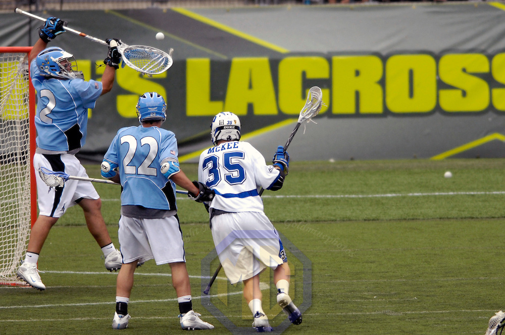 28 May 2007:  Johns Hopkins goal keeper Jesse Schwartzman (2) makes one of his 15 saves on the day in the 2nd quarter against the Duke University Blue Devils in the NCAA Division I Lacrosse Championship game.  The Johns Hopkins Blue Jays defeated the Duke Blue Devils 12-11 to win the NCAA Division I Lacrosse championship at M&T Bank Stadium in Baltimore, Md. .