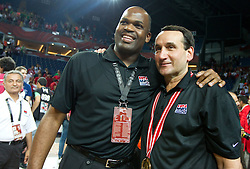 Head coach of USA Mike Krzyzewski (R) celebrates at medal ceremony  after winning the finals basketball match between National teams of Turkey and USA at 2010 FIBA World Championships on September 12, 2010 at the Sinan Erdem Dome in Istanbul, Turkey.  USA defeated Turkey 81 - 64 and became World Champion 2010. (Photo By Vid Ponikvar / Sportida.com)