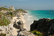The ruins of  Tulum at the Sian Kaan nature reserve during a trip to southern Mexico in January of 2009.