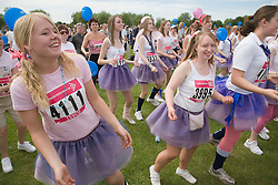Women doing warm up exercises for 2006 Cancer Research UK Race for Life; Nottingham,