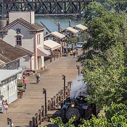 Granite Rock no. 10 Steam Engine passing through Old Sacramento State Historic Park