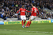 Charlton's Ademola Lookman celebrates with Morgan Fox after scoring during the Sky Bet Championship match between Brighton and Hove Albion and Charlton Athletic at the American Express Community Stadium, Brighton and Hove, England on 5 December 2015. Photo by Geoff Penn.