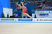 Zeng Laura during final at ribbon in Pesaro World Cup 11 April 2015. Laura was born in Hartford, Connecticut in October 14, 1999. She is an American individual rhythmic gymnast.