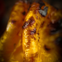Roasted, blackened yellow pepper.