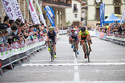 Soraya Paladin (ITA) pips Annemiek van Vleuten (NED) of Orica Scott Cycling Team for second place on Stage 3 of the Emakumeen Bira - a 77.6 km road race, starting and finishing in Antzuola on May 19, 2017, in Basque Country, Spain. (Photo by Balint Hamvas/Velofocus)