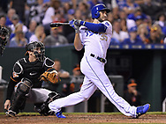 May 12, 2017 - Kansas City, MO, USA - Kansas City Royals' Eric Hosmer follows through on an RBI double to score Lorenzo Cain in the eighth inning against the Baltimore Orioles on Friday, May 12, 2017 at Kauffman Stadium in Kansas City, Mo. (Credit Image: © John Sleezer/TNS via ZUMA Wire)