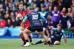 Jon Fisher of Bristol Rugby (L) in action with Dillon Lewis of Cardiff Blues - Mandatory by-line: Ian Smith/JMP - 20/08/2016 - RUGBY - BT Sport Cardiff Arms Park - Cardiff, Wales - Cardiff Blues v Bristol Rugby - Pre-season friendly