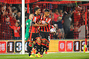 AFC Bournemouth forward Lewis Grabban celebrates scoring a penalty to level the scores at 1-1 with Lys Mousset of AFC Bournemouth during the EFL Cup match between Bournemouth and Preston North End at the Vitality Stadium, Bournemouth, England on 20 September 2016. Photo by Graham Hunt.
