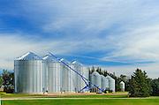 Grain bins and auger  in farmyard - Property Released<br /> Yellow Grass<br /> Saskatchewan<br /> Canada