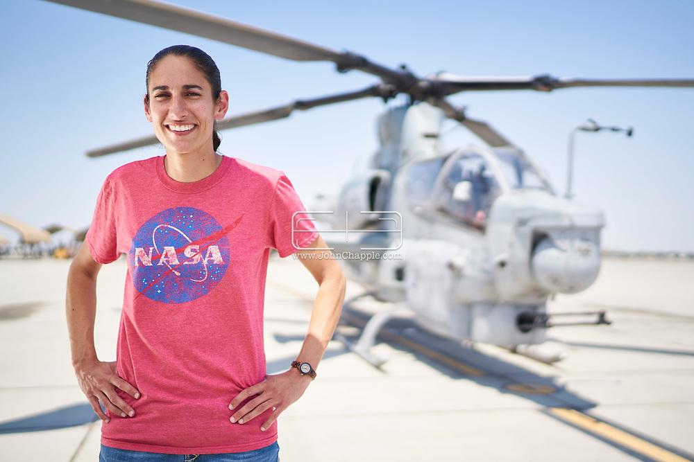 "June 21, 2017. Yuma Arizona. United States Marine Corp Major Jasmin ""Jaws"" Moghbeli, who is a 2017 NASA Astronaut Candidate.    Photo Copyright John Chapple / www.JohnChapple.com"