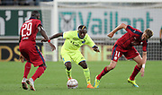 Maxime Poundje (Bordeaux) Jean-Luc Dompe (Gent) and Jaroslav Plasil (Bordeaux) fight for the ball during the first leg of the Uefa Europa League play-off match between Kaa Gent and Girondins de Bordeaux on August 23, 2018 in Ghent, Belgium, Photo Vincent Van Doornick / Isosport / Pro Shots / ProSportsImages / DPPI