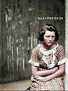 "Vintage Mugshots in colour<br /> <br /> Mug shot of Valerie Lowe, 15 February 1922, Central Police Station, Sydney.<br /> <br /> Valerie Lowe and Joseph Messenger were arrested in 1921 for breaking into an army warehouse and stealing boots and overcoats to the value of 29 pounds 3 shillings. The following year, when this photograph were taken, they were charged with breaking and entering a dwelling. Those charges were eventually dropped but they were arrested again later that year for stealing a saddle and bridle from Rosebery Racecourse. In 1923 Lowe was convicted of breaking into a house at Enfield and<br /> <br /> stealing money and jewellery to the value of 40 pounds. See also 'Mug shot of Joseph Messenger.'<br /> <br /> This picture is one of a series of around 2500 ""special photographs"" taken by New South Wales Police Department photographers between 1910 and 1930. These ""s<br /> <br /> constructed out of a potent alchemy of inborn disposition, personal history, learned habits and idiosyncrasies, chosen personal style (haircut, clothing, accessories) and physical characteristics.""<br /> ©Frédéric DurIiez/Exclusivepix Media"