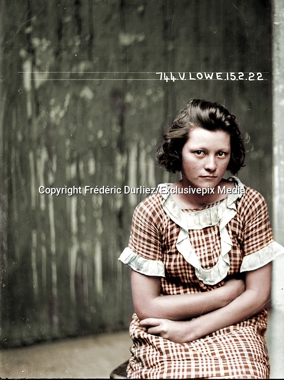 Vintage Mugshots in colour<br /> <br /> Mug shot of Valerie Lowe, 15 February 1922, Central Police Station, Sydney.<br /> <br /> Valerie Lowe and Joseph Messenger were arrested in 1921 for breaking into an army warehouse and stealing boots and overcoats to the value of 29 pounds 3 shillings. The following year, when this photograph were taken, they were charged with breaking and entering a dwelling. Those charges were eventually dropped but they were arrested again later that year for stealing a saddle and bridle from Rosebery Racecourse. In 1923 Lowe was convicted of breaking into a house at Enfield and<br /> <br /> stealing money and jewellery to the value of 40 pounds. See also 'Mug shot of Joseph Messenger.'<br /> <br /> This picture is one of a series of around 2500 &quot;special photographs&quot; taken by New South Wales Police Department photographers between 1910 and 1930. These &quot;s<br /> <br /> constructed out of a potent alchemy of inborn disposition, personal history, learned habits and idiosyncrasies, chosen personal style (haircut, clothing, accessories) and physical characteristics.&quot;<br /> &copy;Fr&eacute;d&eacute;ric DurIiez/Exclusivepix Media