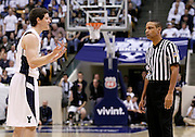 BYU guard Jimmer Fredette (32) pleads with an official during the second half of an NCAA college basketball game against New Mexico in Provo, Utah, Wednesday, March. 2, 2011. Fredette scored 33 points. New Mexico defeated third-ranked BYU, 82-64. (AP Photo/Colin E Braley).