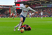 Heung-Min Son (7) of Tottenham Hotspur gets past Lewis Cook (16) of AFC Bournemouth during the Premier League match between Bournemouth and Tottenham Hotspur at the Vitality Stadium, Bournemouth, England on 11 March 2018. Picture by Graham Hunt.