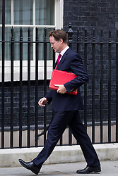 © Licensed to London News Pictures. 10/09/2013. London, UK. The Deputy Prime Minister, Nick Clegg, is seen on Downing Street in London today (10/09/2013) for a meeting of the British Government's cabinet. Photo credit: Matt Cetti-Roberts/LNP