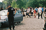 Police and ravers in car park, Halfway Quarry Brecon Wales, May 2017