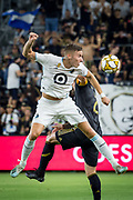 Minnesota United midfielder Jan Gregus (8) heads the ball during an MLS soccer match against the LAFC. Minnesota United defeated the LAFC 2-0 on Sunday Sept. 1 2019, in Los Angeles. (Ed Ruvalcaba/Image of Sport)