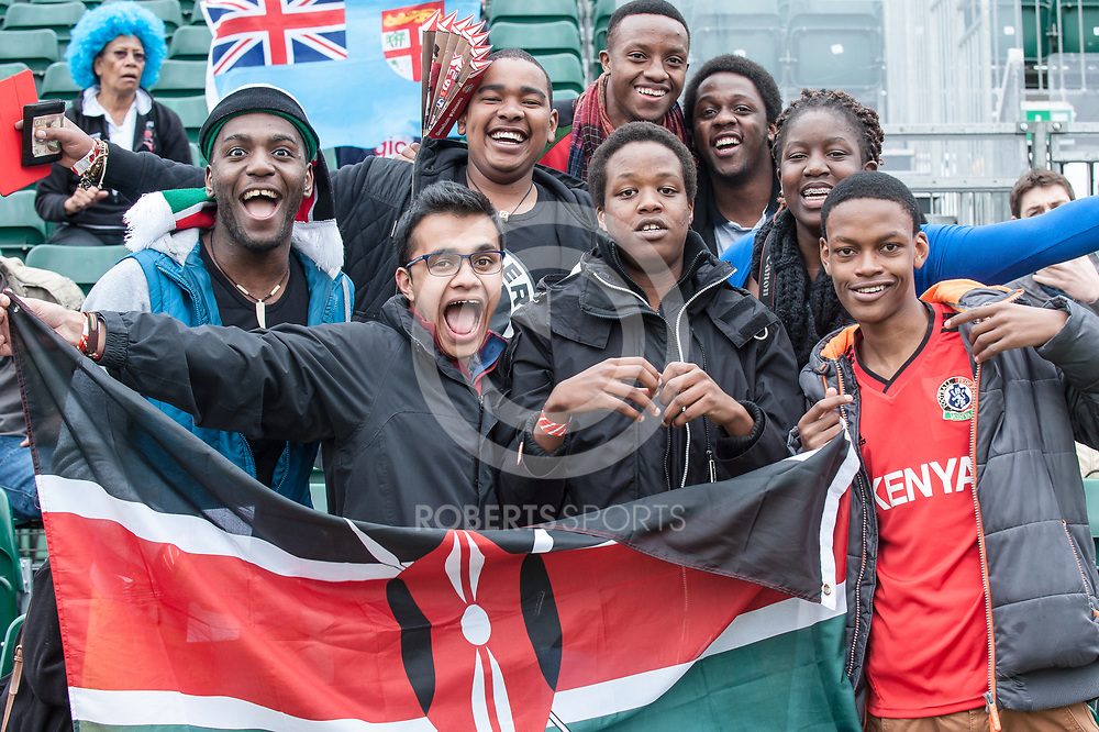 Kenyan fans at the IRB Emirates Airline Glasgow 7s at Scotstoun in Glasgow. 3 May 2014. (c) Paul J Roberts / Sportpix.org.uk