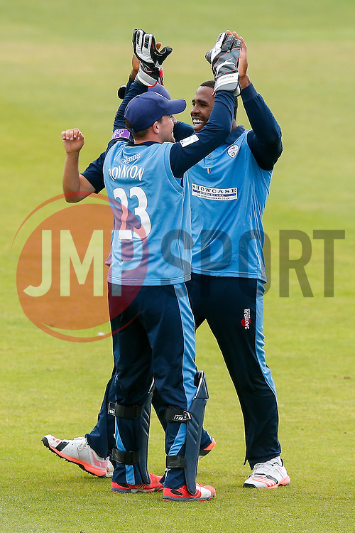 Chesney Hughes of Derbyshire celebrates scoring a goal after taking his second catch, this time to dismiss Jamie Overton of Somerset for 9 (b. Ben Cotton), to secure victory in the match - Mandatory byline: Rogan Thomson/JMP - 07966 386802 - 26/07/2015 - SPORT - CRICKET - Taunton, England - County Ground - Somerset v Derbyshire Falcons -Royal London One-Day Cup.