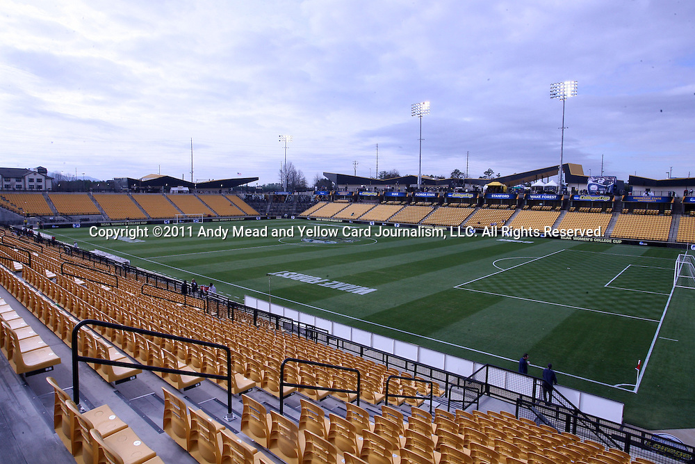 04 December 2011: Wide shot of the stadium from the northeast corner before the game. The Stanford University Cardinal played the Duke University Blue Devils at KSU Soccer Stadium in Kennesaw, Georgia in the NCAA Division I Women's Soccer College Cup Final.