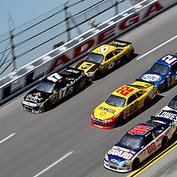April 17, 2011; Talladega, AL, USA; NASCAR Sprint Cup Series drivers Matt Kenseth (17), David Ragan (6), Kurt Busch (22), Brad Keselowski (2), Dale Earnhardt Jr. (88) and Jimmie Johnson (48) during the Aarons 499 at Talladega Superspeedway.   Mandatory Credit: Derick E. Hingle