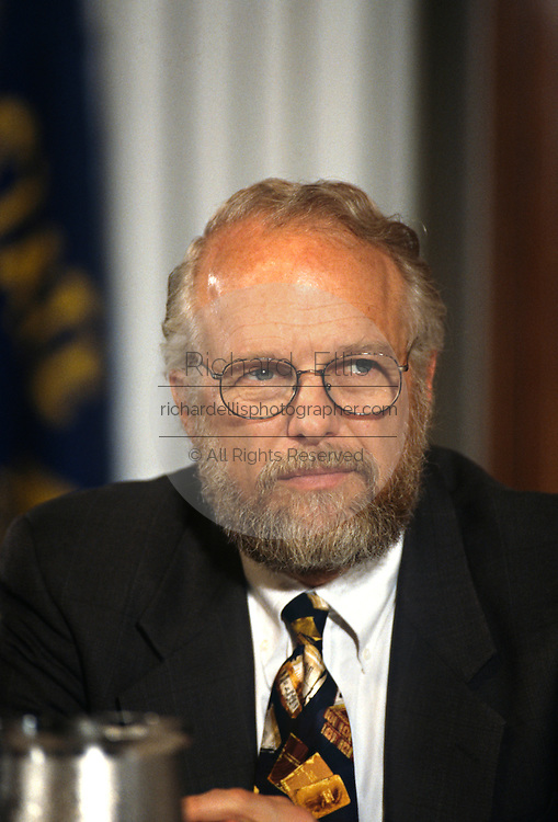 CEO of Adobe Systems John Warnock during a technology event at the National Press Club June 4, 1997 in Washington, DC.