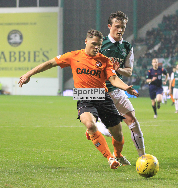 Hibernian V Dundee United Scottish League Cup Quarter Final 4th November 2015; Dundee United's John Rankin and Hibernian's Liam Henderson during the Hibernian V Dundee United League Cup Quarter Final tie, played at Easter Road Stadium, Edinburgh.