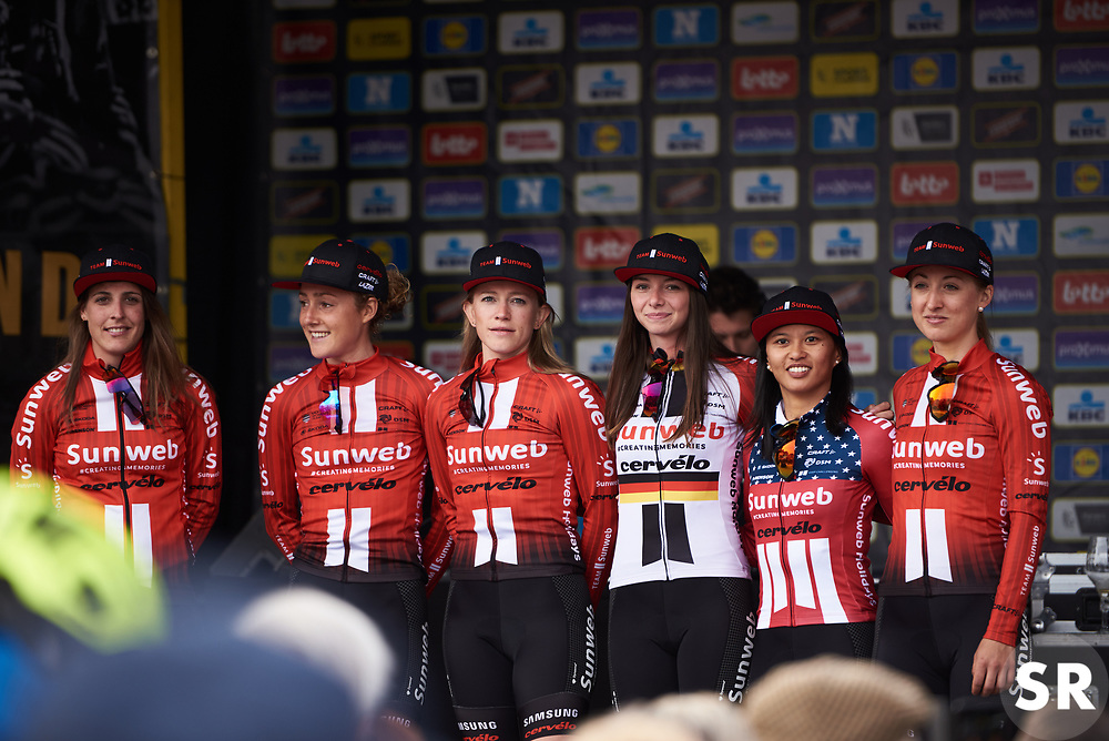 Team Sunweb at Ronde van Vlaanderen - Elite Women Team Presentation 2019 in Oudenaarde, Belgium on April 6, 2019. Photo by Sean Robinson/velofocus.com