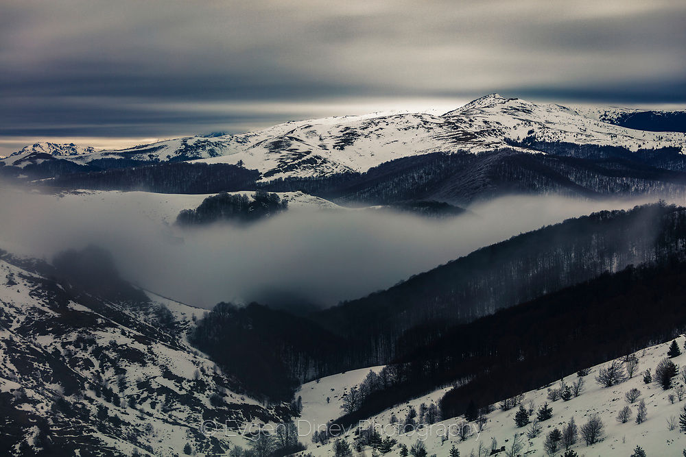 Balkan Mountains winter fogs