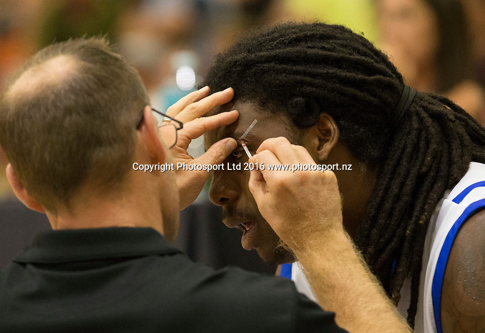 Saint's Charles Jackson gets a cut eye seen to. Hawkes Bay Hawks v Wellington Saints,NBL basketball, PG Arena, Napier, New Zealand. Sunday, 13 March 2016. Copyright photo: John Cowpland / www.photosport.nz