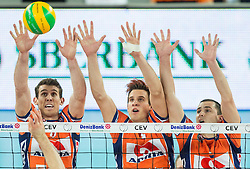 Eric Mochalski of ACH, Jan Kozamernik of ACH and Andrej Flajs of ACH during volleyball match between ACH Volley (SLO) and Lotos Trefl Gdansk (POL) in 3rd Leg of Pool F of 2016 CEV DenizBank Volleyball Champions League, on December 3, 2015 in Arena Stozice, Ljubljana, Slovenia. Photo by Vid Ponikvar / Sportida