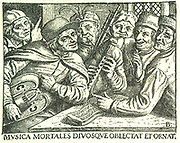 Group of German musicians, mid-sixteenth century.  Man on left is holding a hurdy-gurdy, also known as the peasant lyre. Man in centre is playing bagpipes. The book of music they are playing from is on the table. Legend reads 'Music delights and adorns both gods and mortals'. Engraving.