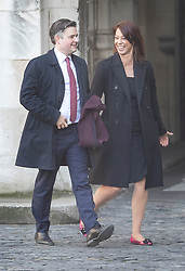 © Licensed to London News Pictures. 14/02/2019. London, UK. Shadow health secretary John Ashworth walks with fellow Labour MP Gloria De Piero at Parliament ahead of a Brexit vote in the House of Commons later today. Photo credit: Peter Macdiarmid/LNP