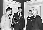03/07/1963<br /> 07/03/1963<br /> 03 July 1963<br /> David Brown Tractor and Implements Maintenance Awards presented by Minister of Industry and Commerce Jack Lynch TD at the Shelbourne Hotel, Dublin. Picture the winner of the main award with his trophy.