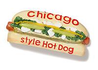 Chicago style hot dog on white background