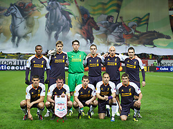 MOSCOW, RUSSIA - Thursday, November 8, 2012: Liverpool's players line up for a team group photograph before during the UEFA Europa League Group A match against FC Anji Makhachkala at the Lokomotiv Stadium. Back row L-R: Andre Wisdom, Sebastian Coates, goalkeeper Brad Jones, Jordan Henderson, Jonjo Shelvey, Stewart Downing. Front row L-R: Conor Coady, Jamie Carragher, Jon Flanagan, Joe Cole, Adam Morgan. (Pic by David Rawcliffe/Propaganda)