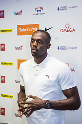 © Licensed to London News Pictures. 23/07/2015. London, UK. Usain Bolt posing for photographs at a press conference in London ahead of his Sainsbury's Anniversary Games appearances tomorrow, at the Queen Elizabeth Olympic Park. Photo credit : James Gourley/LNP