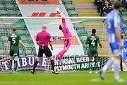 Luke McCormick (23) of Plymouth Argyle tips the ball over te bar during the EFL Sky Bet League 2 match between Plymouth Argyle and Colchester United at Home Park, Plymouth, England on 29 October 2016. Photo by Graham Hunt.