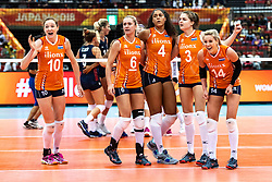 15-10-2018 JPN: World Championship Volleyball Women day 16, Nagoya<br /> Netherlands - USA 3-2 / Lonneke Sloetjes #10 of Netherlands, Maret Balkestein-Grothues #6 of Netherlands, Celeste Plak #4 of Netherlands, Yvon Belien #3 of Netherlands, Laura Dijkema #14 of Netherlands