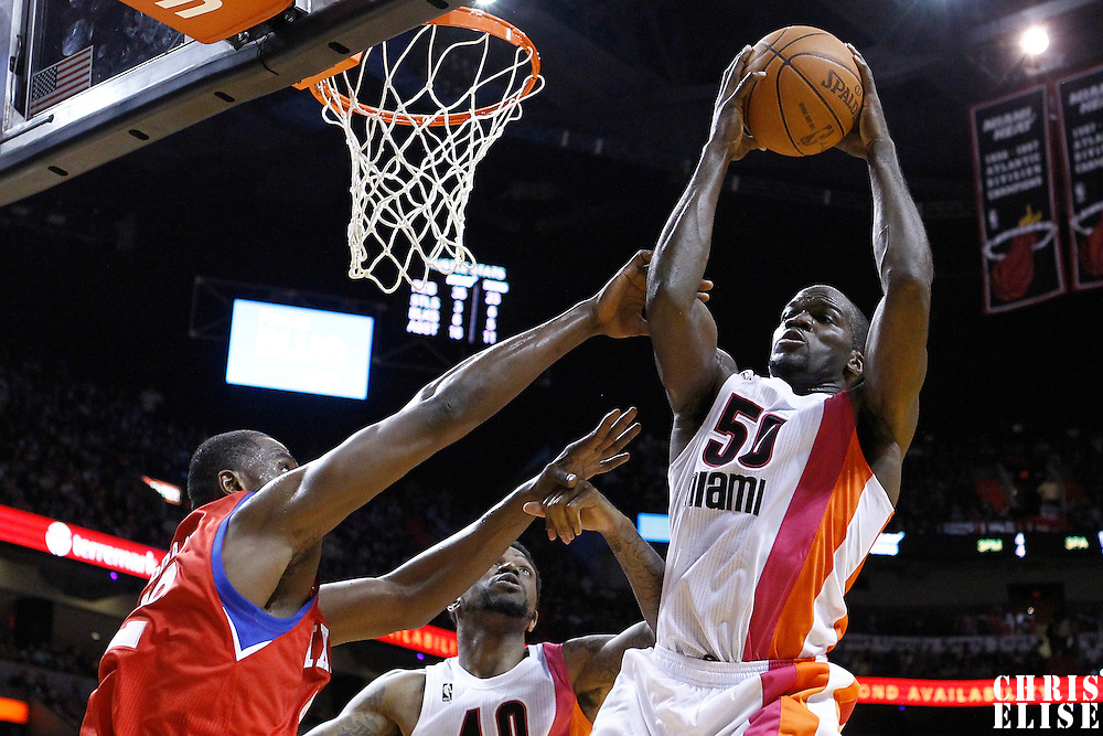 21 January 2012: Miami Heat center Joel Anthony (50) grabs a rebound during the Miami Heat 113-92 victory over the Philadelphia Sixers at the AmericanAirlines Arena, Miami, Florida, USA.