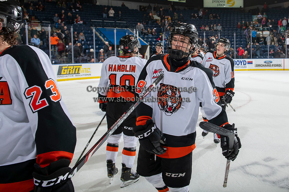 KELOWNA, BC - NOVEMBER 8:  Teague Patton #39 of the Medicine Hat Tigers exits the ice against the Kelowna Rockets at Prospera Place on November 8, 2019 in Kelowna, Canada. (Photo by Marissa Baecker/Shoot the Breeze)