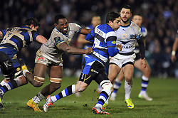 Horacio Agulla of Bath Rugby takes on the Montpellier defence - Photo mandatory by-line: Patrick Khachfe/JMP - Mobile: 07966 386802 12/12/2014 - SPORT - RUGBY UNION - Bath - The Recreation Ground - Bath Rugby v Montpellier - European Rugby Champions Cup
