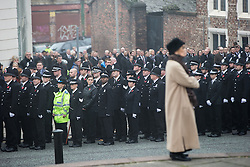 © Licensed to London News Pictures . 02/11/2015 . Liverpool , UK . The funeral of Police Constable Dave Phillips , at Liverpool Cathedral . Five people are charged in connection with his death , including Clayton Williams , 18 , from Wallasey , who is charged with murder . Photo credit: Joel Goodman/LNP