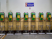 22 OCTOBER 2014 - BANGKOK, THAILAND: A bank of pay phones in Hua Lamphong Train Station in Bangkok.      PHOTO BY JACK KURTZ
