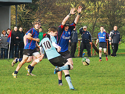 Westport's Michael O'Grady closes in on Galwegians Darren Fitzpatrick during the Connacht Under 17 league final...Pic Conor McKeown