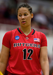 March 20, 2010; Stanford, CA, USA; Rutgers Scarlet Knights guard/forward April Sykes (12) during the first half against the Iowa Hawkeyes in the first round of the 2010 NCAA womens basketball tournament at Maples Pavilion. Iowa defeated Rutgers 70-63.